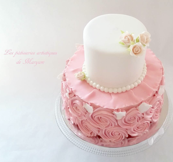 Pink and white rosette birthday girl cake