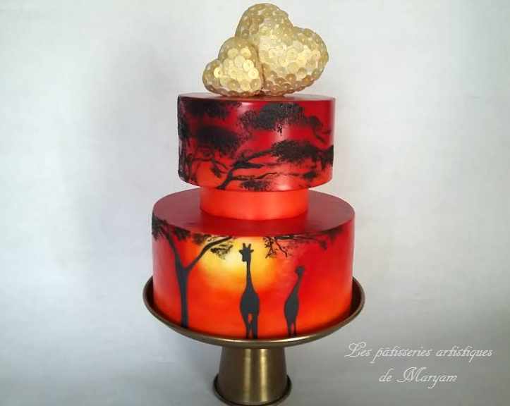 Red Safari sunset themed wedding cake