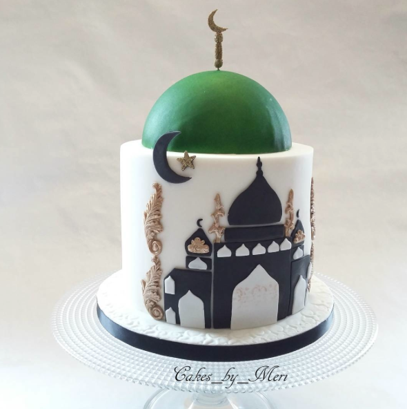 Green and black India themed wedding cake