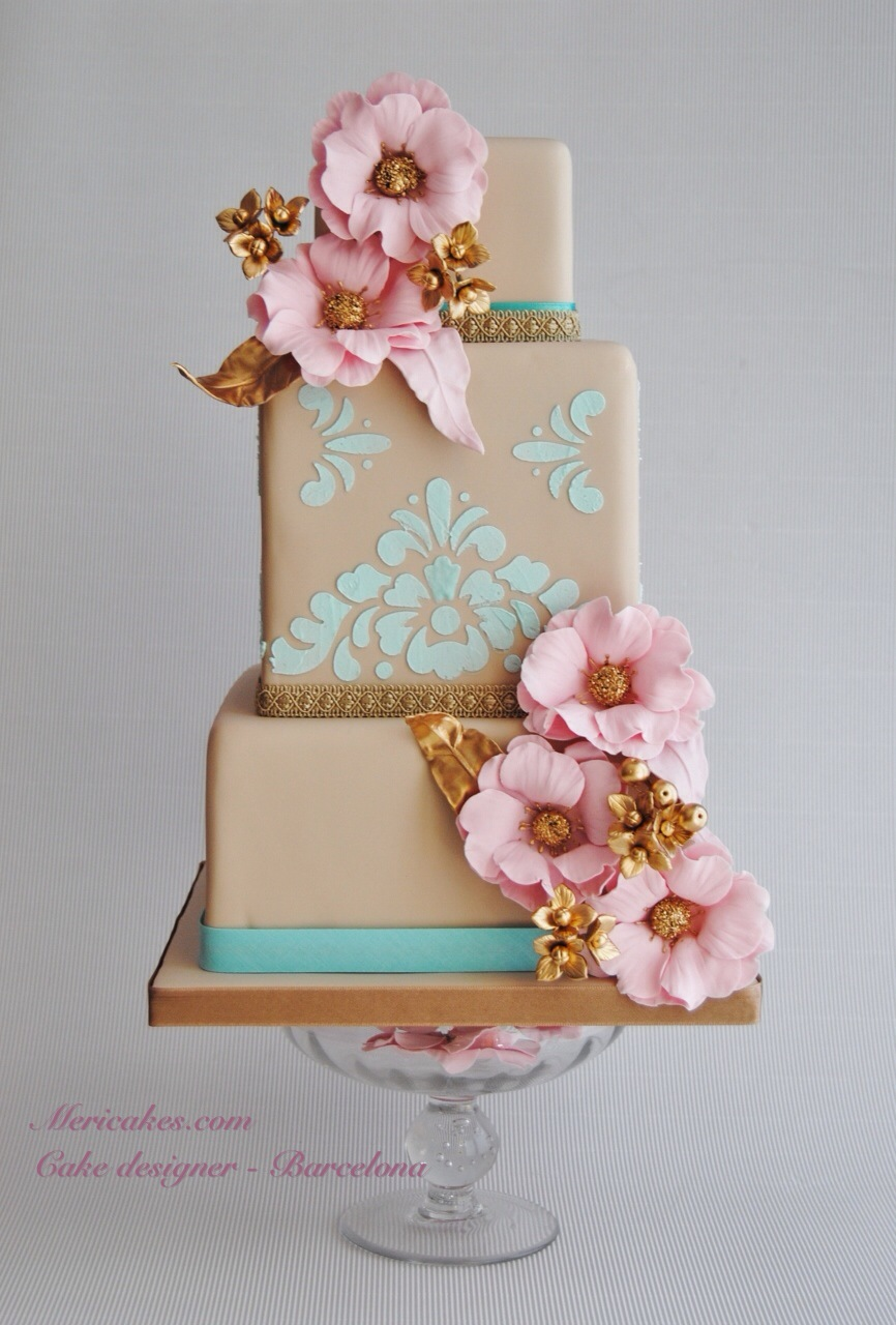 Taupe and pink fondant wedding cake
