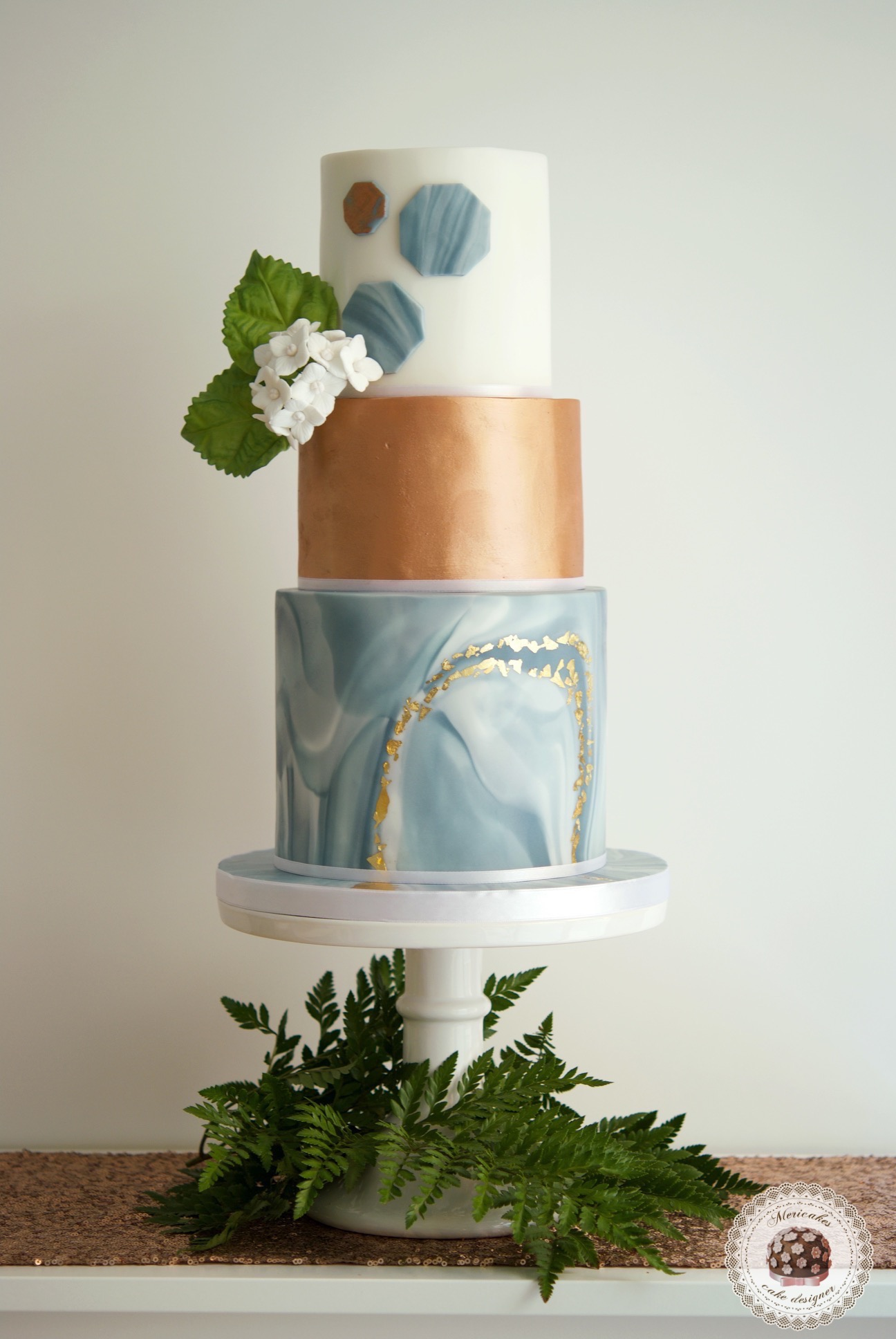 Gray  marble fondant wedding cake with copper