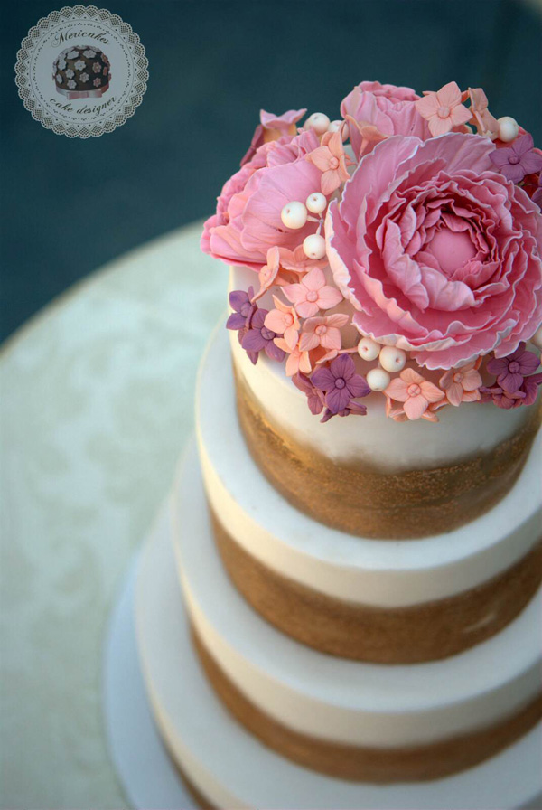Rose Gold Glitter fondant Wedding cake