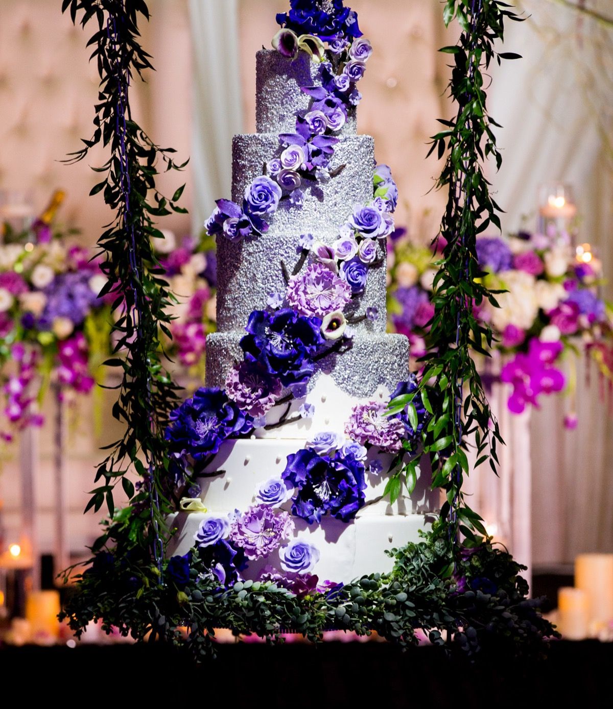 Silver with purple wedding cake