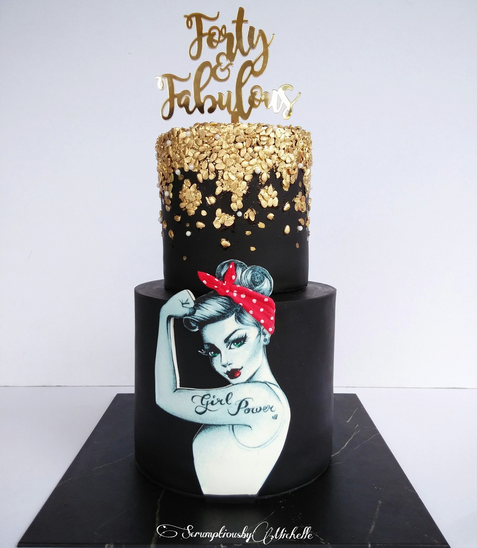 Rosie the Riveter 40th fondant Birthday Cake