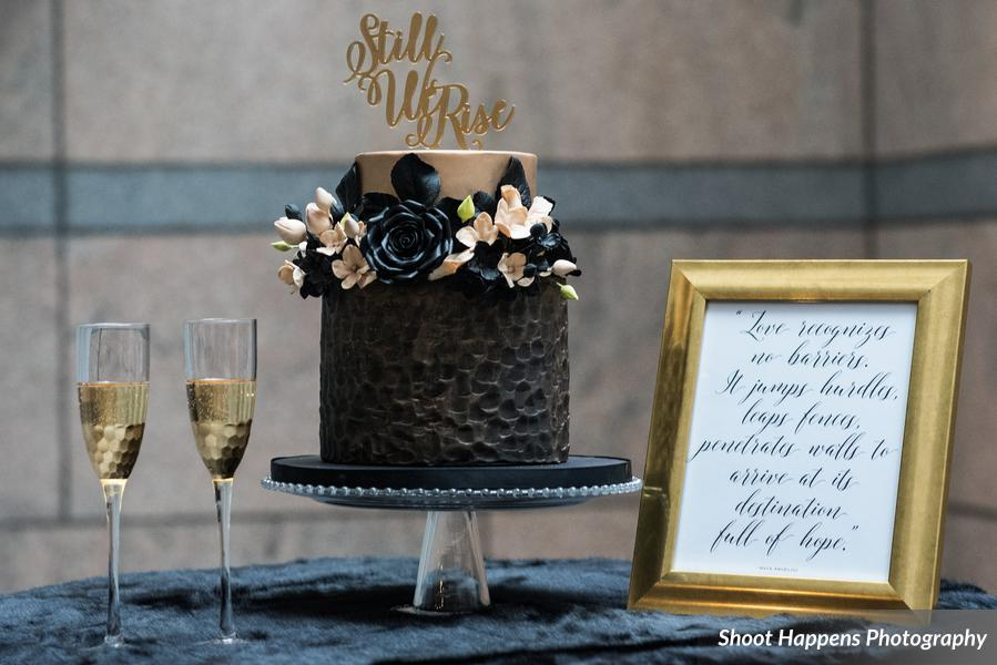 Black & taupe fondant cake with texture