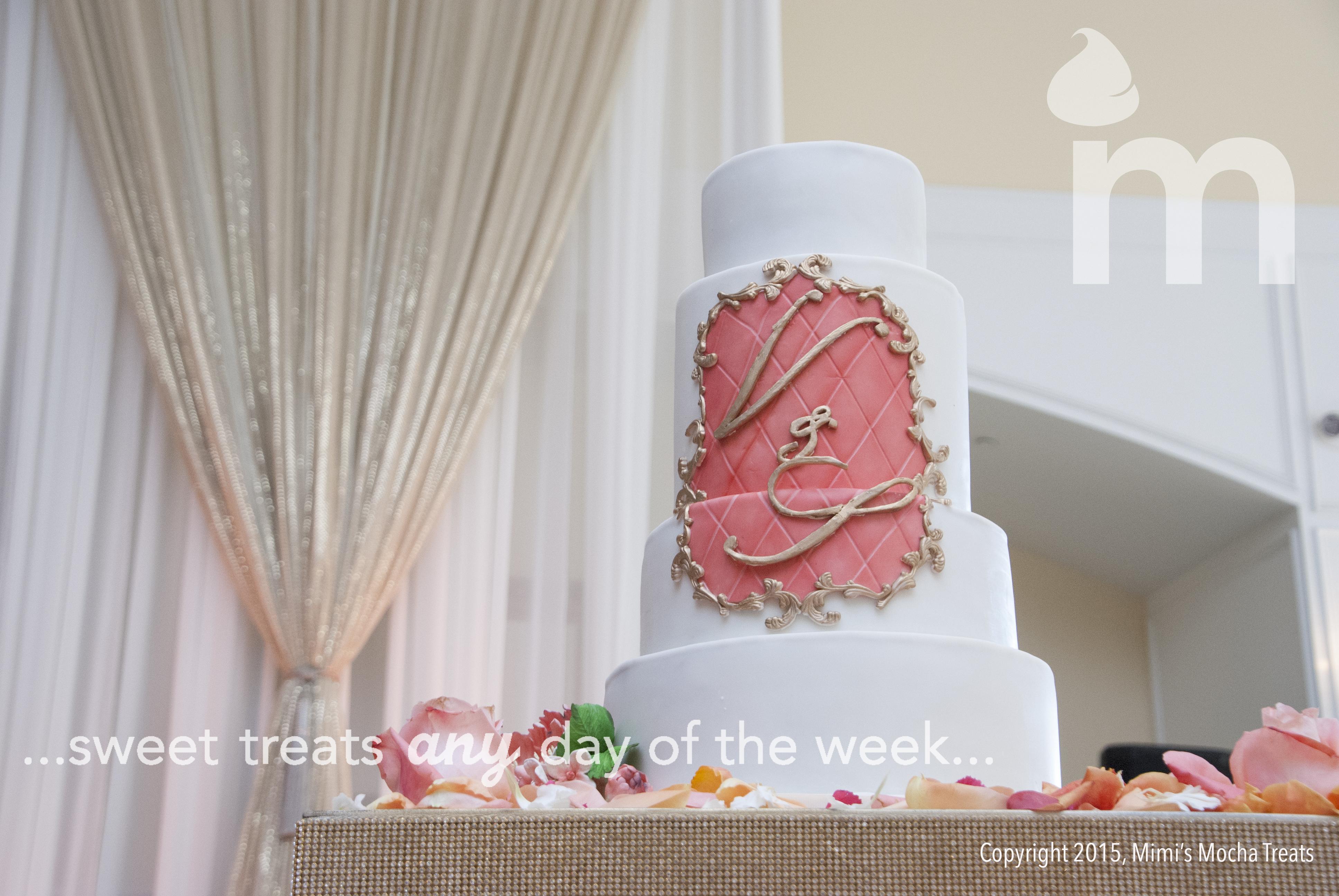 White & Pink Monogram wedding