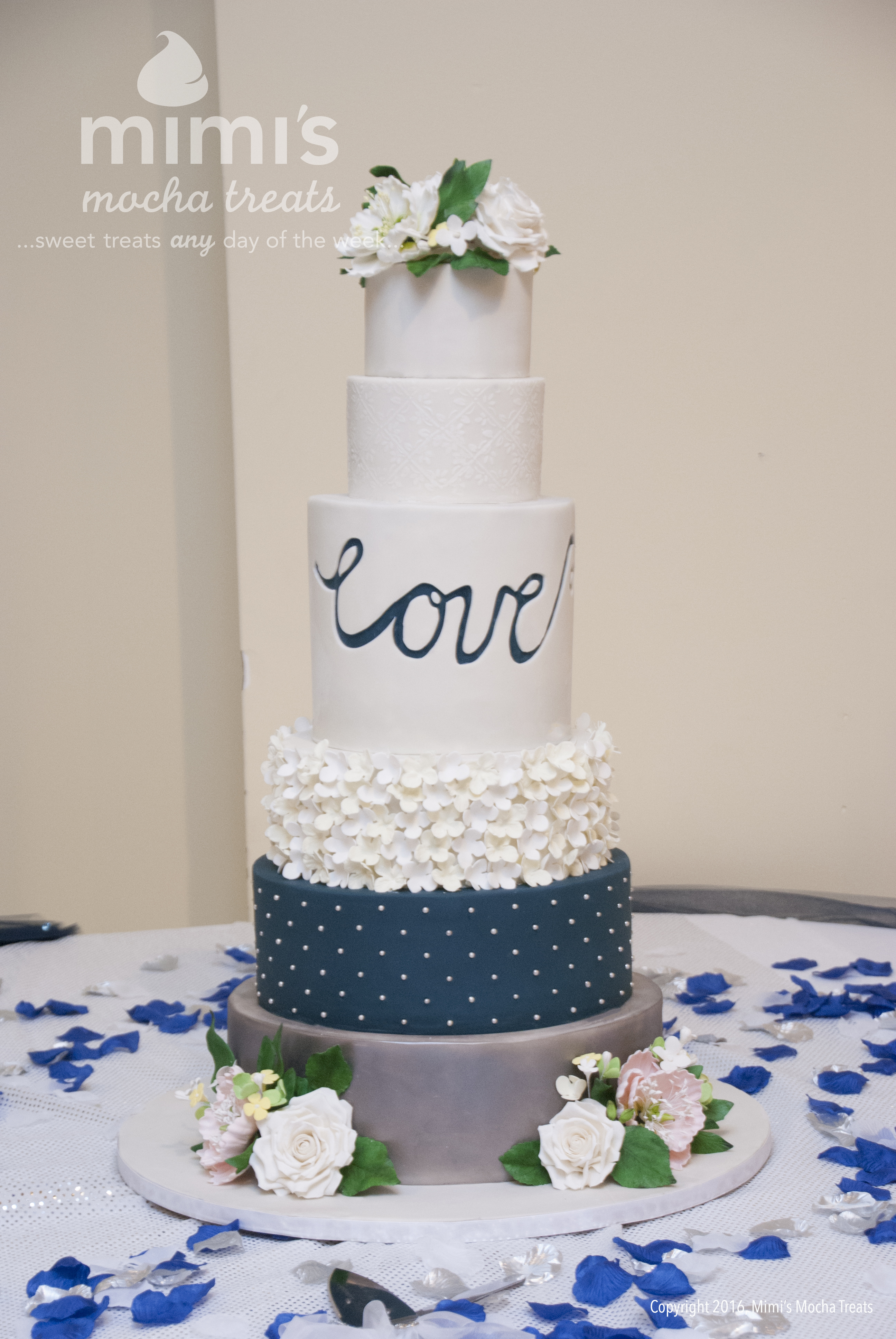 White and Navy blue Wedding