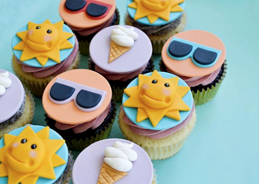 Sunshine and sunglasses cupcake toppers