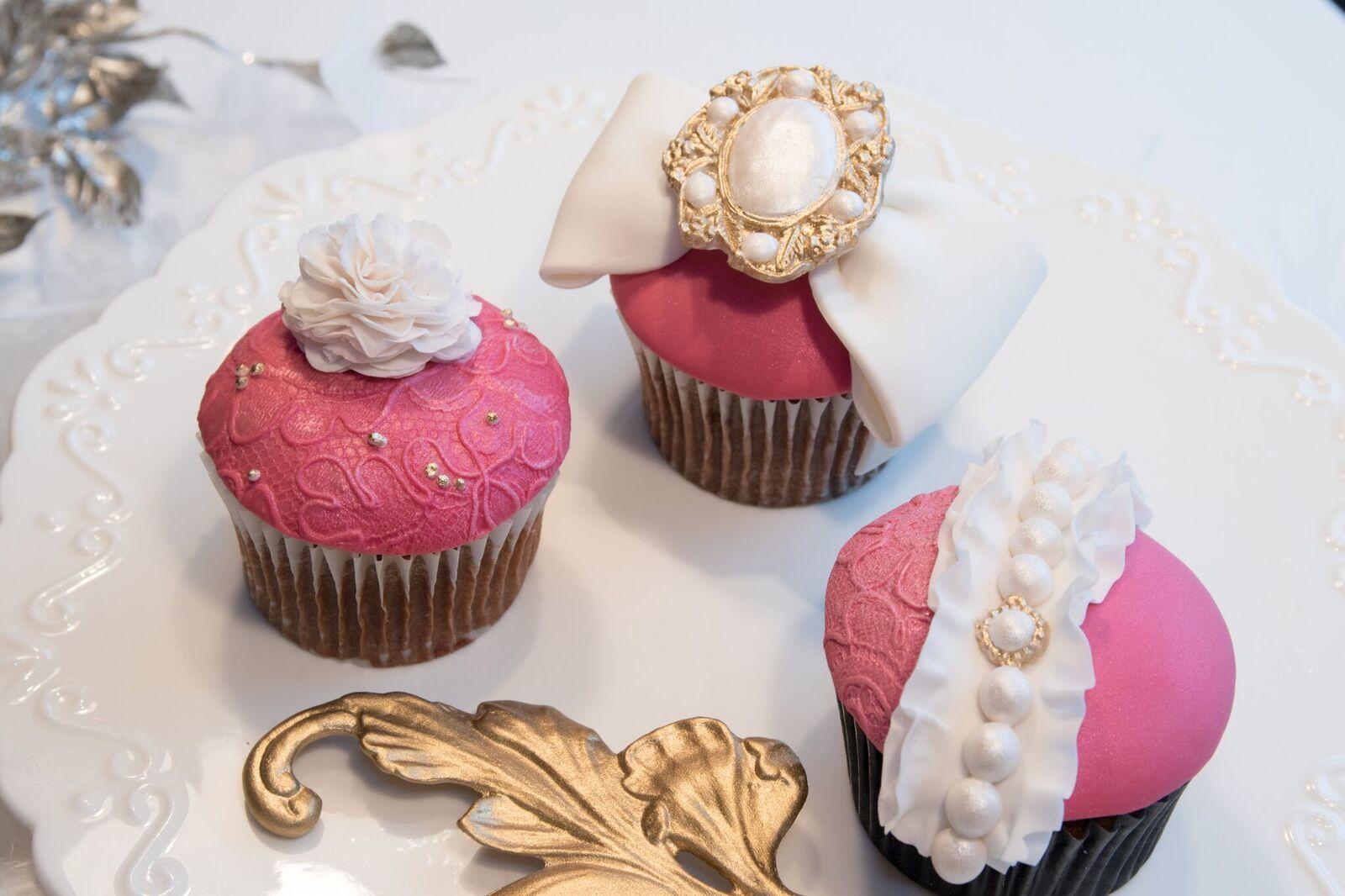 Pink Gum Paste Baroque Cupcakes