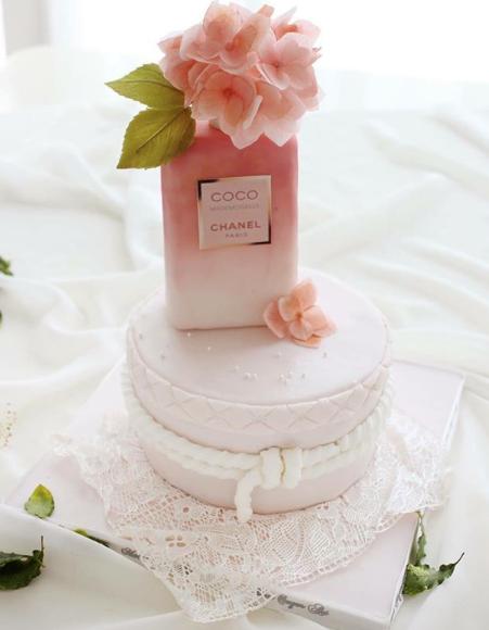 Perfume bottle shaped fondant birthday cake