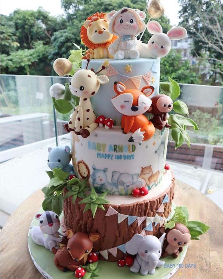 Forest animal tree bark effect birthday cake