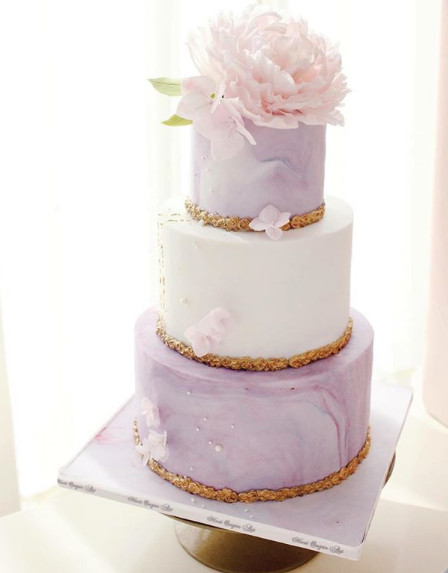 lavender and white fondant wedding cake