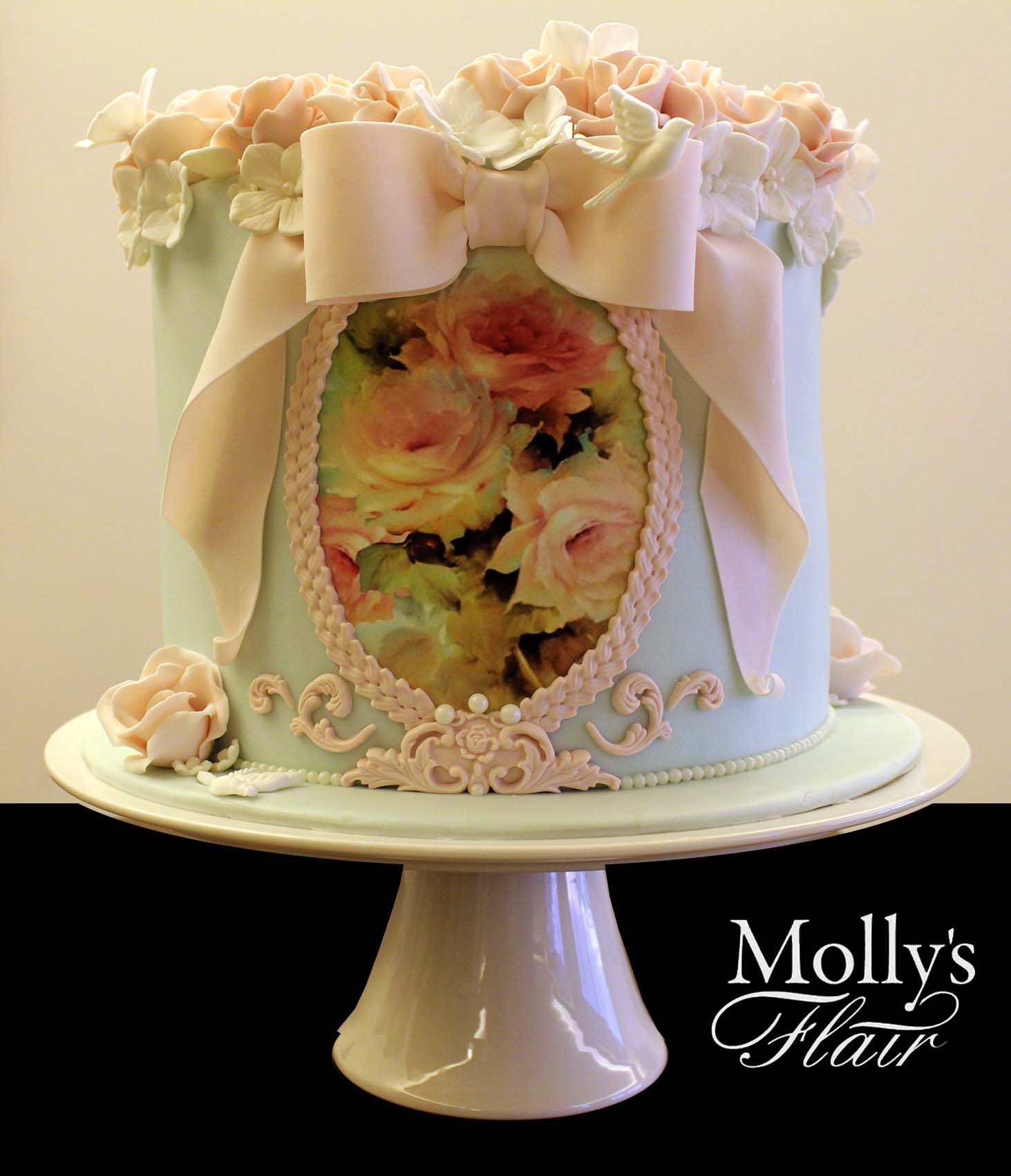 Hanpainted floral cake