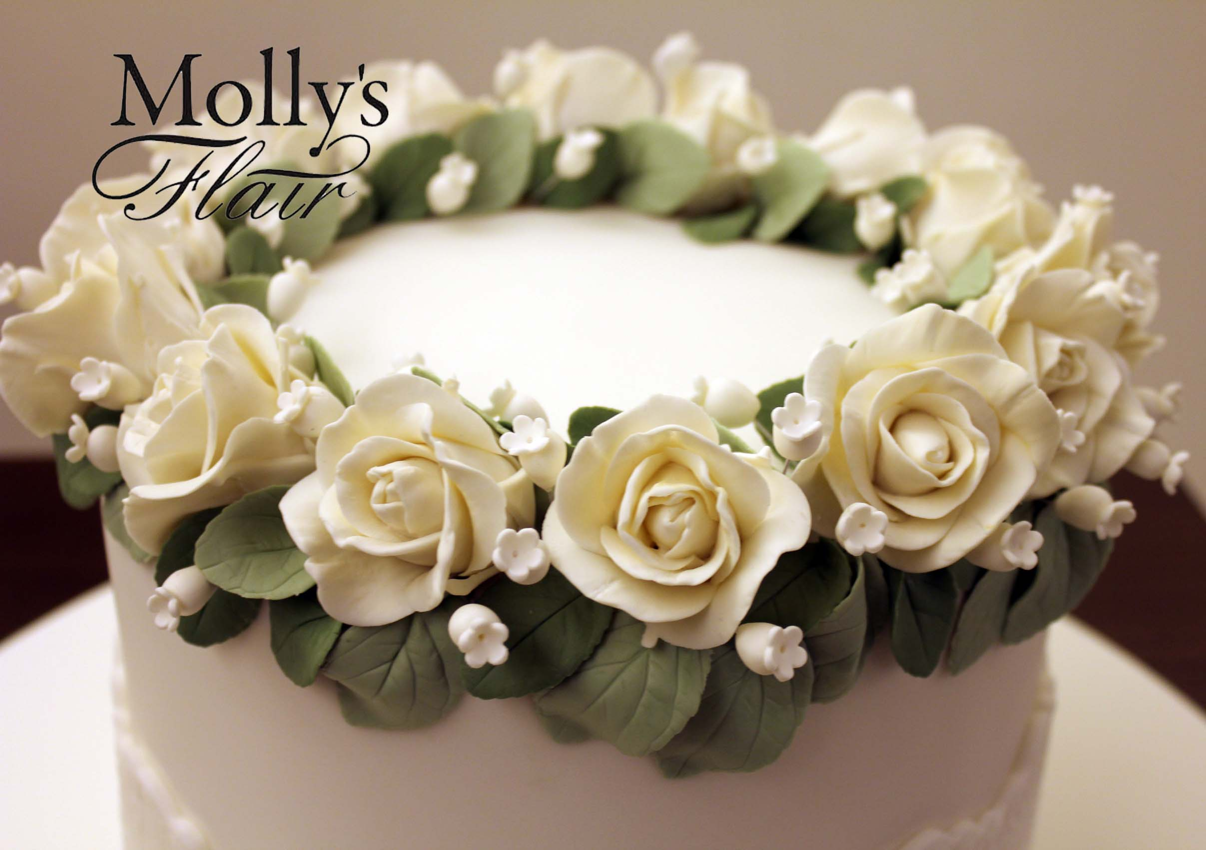 White sugar flower wreath