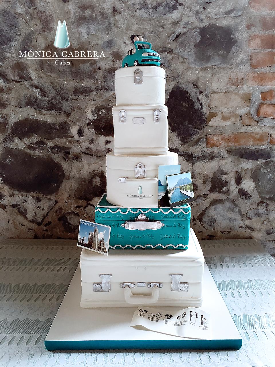 Suitcase stack fondant cake