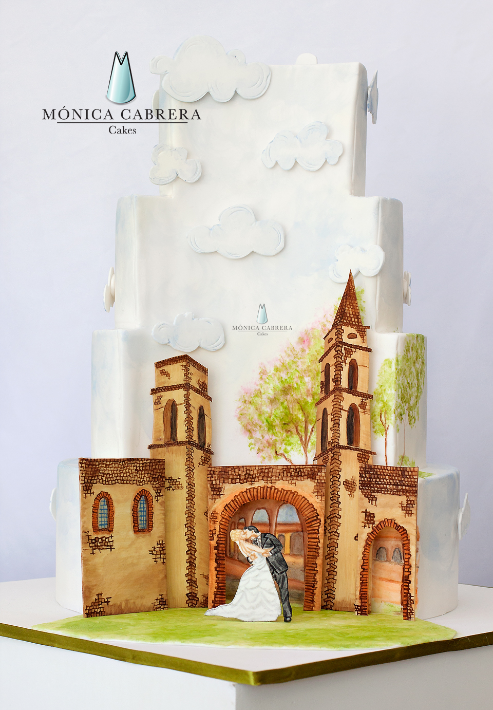 Church and clouds hand painted wedding