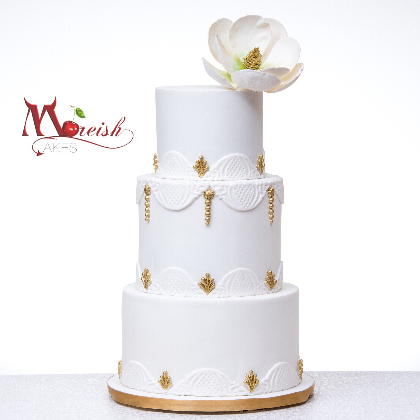 White with gold trim wedding