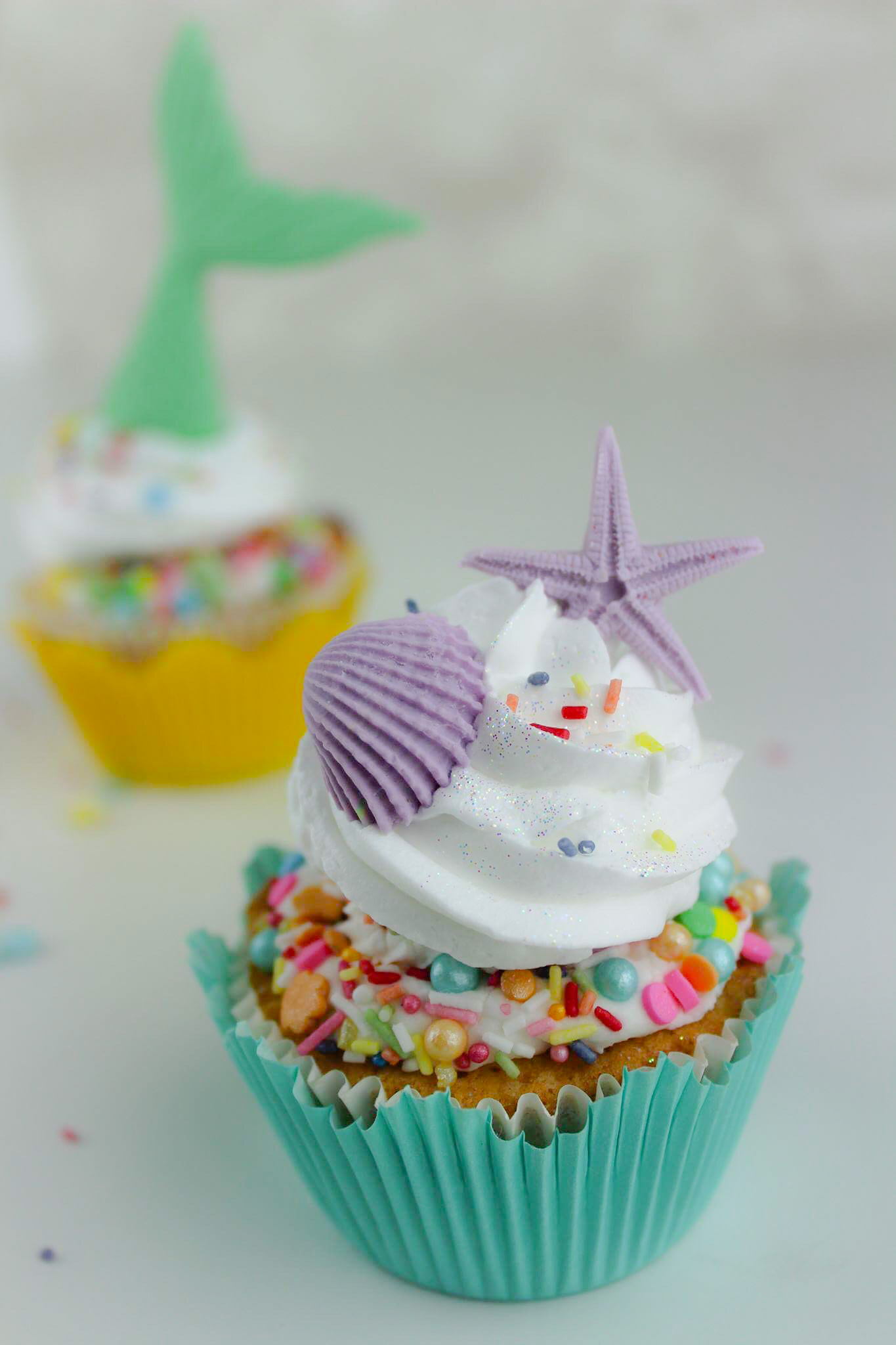 Seashell and mermaid tail fondant cupcake toppers