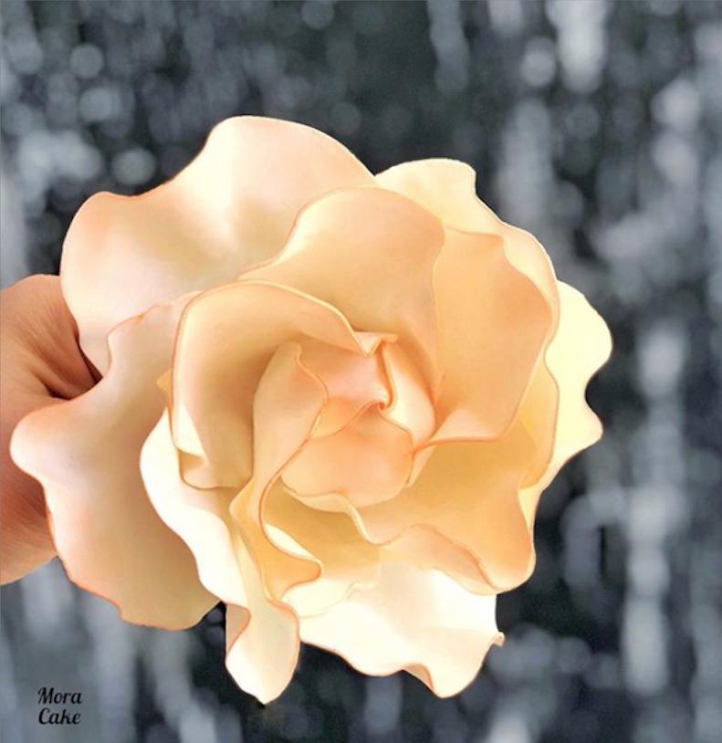 Peach sugar flower