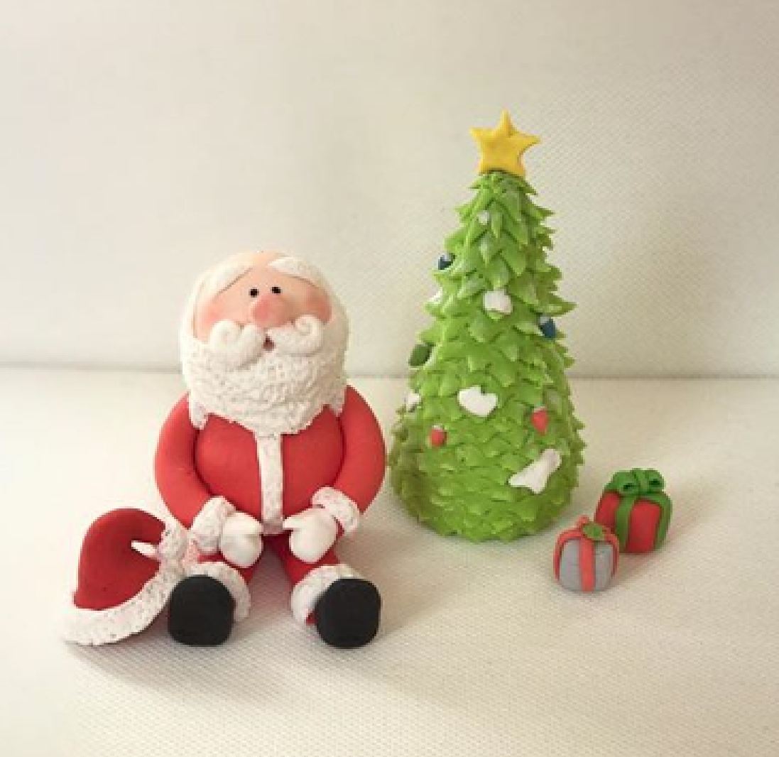 Santa and Christmas tree cake topper