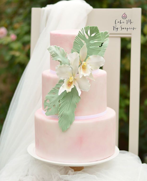 baby  Pink marbled fondant wedding cake