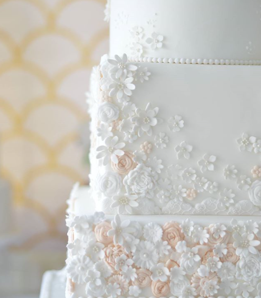 All White fondant wedding cake with textured little flowers