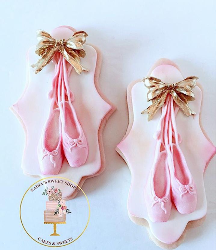 Pink fondant ballerina cookies