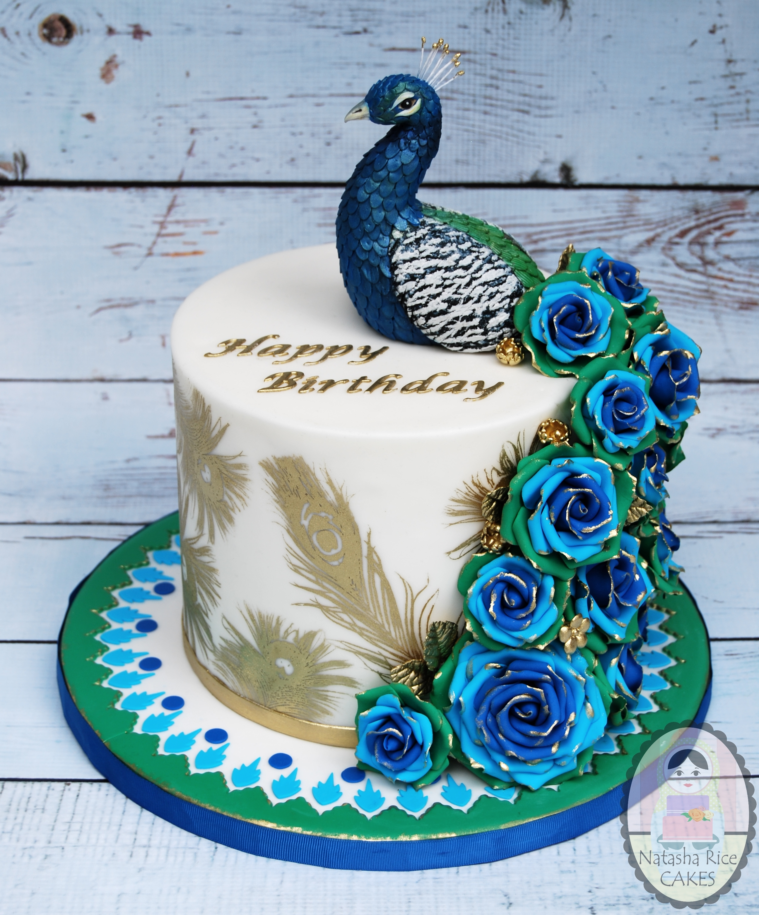 Blue and White Peacock Birthday