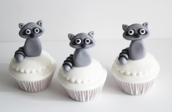 Woodland raccoon fondant cupcake toppers