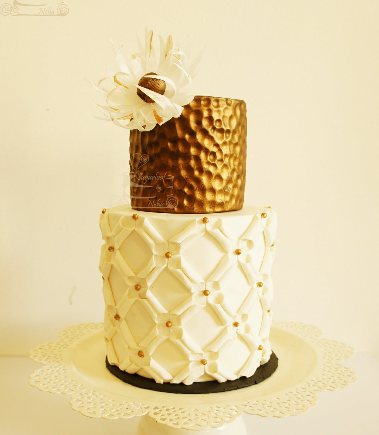 Copper embossed fondant wedding cake
