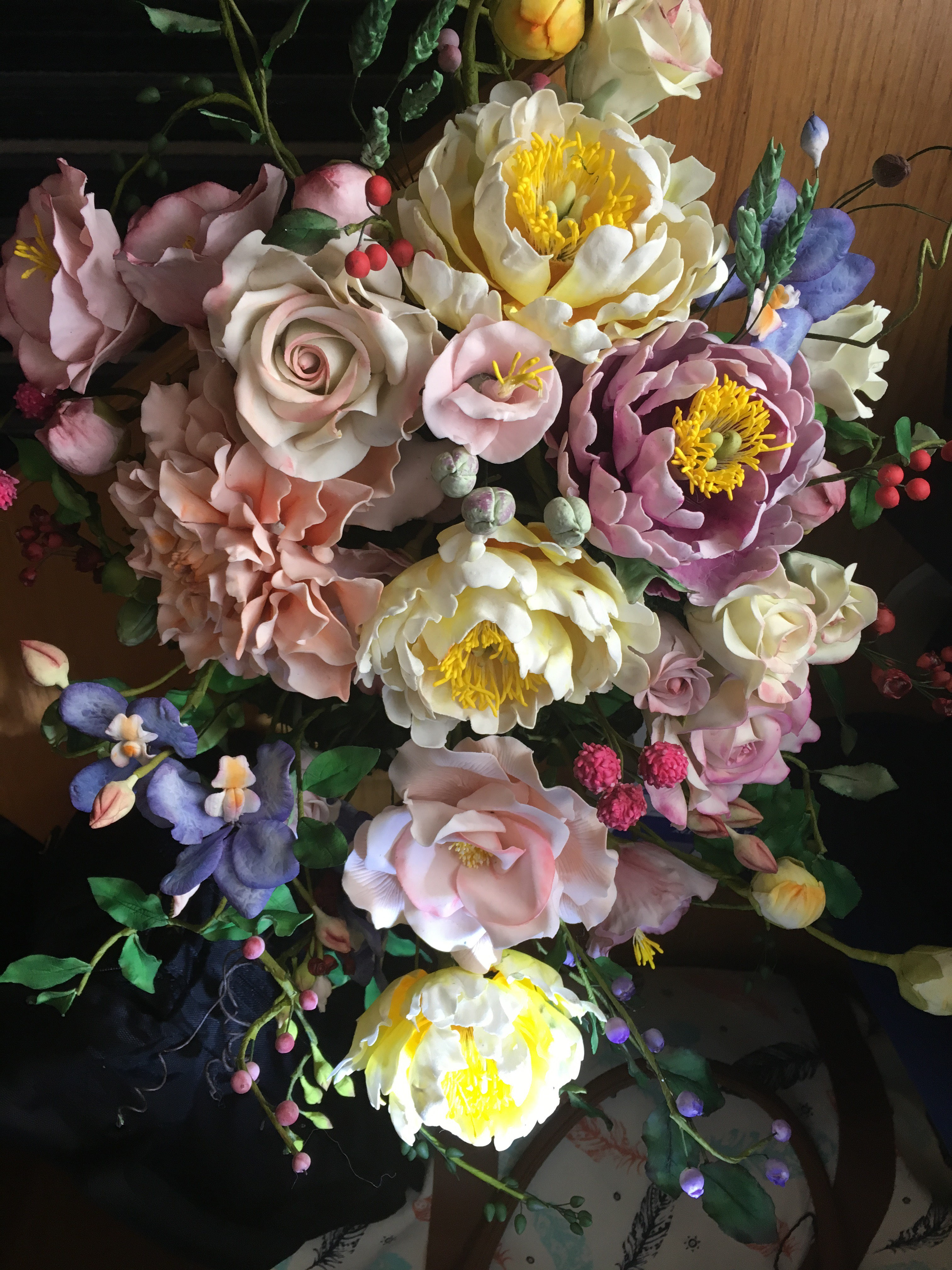 pastel gum paste bouquet