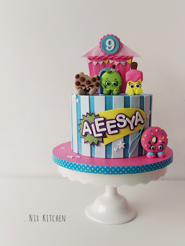Colorful shopkins birthday cake