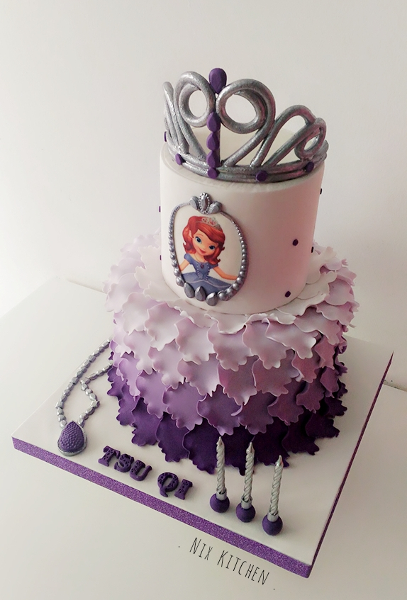 Purple ombre sohpia princess birthday cake