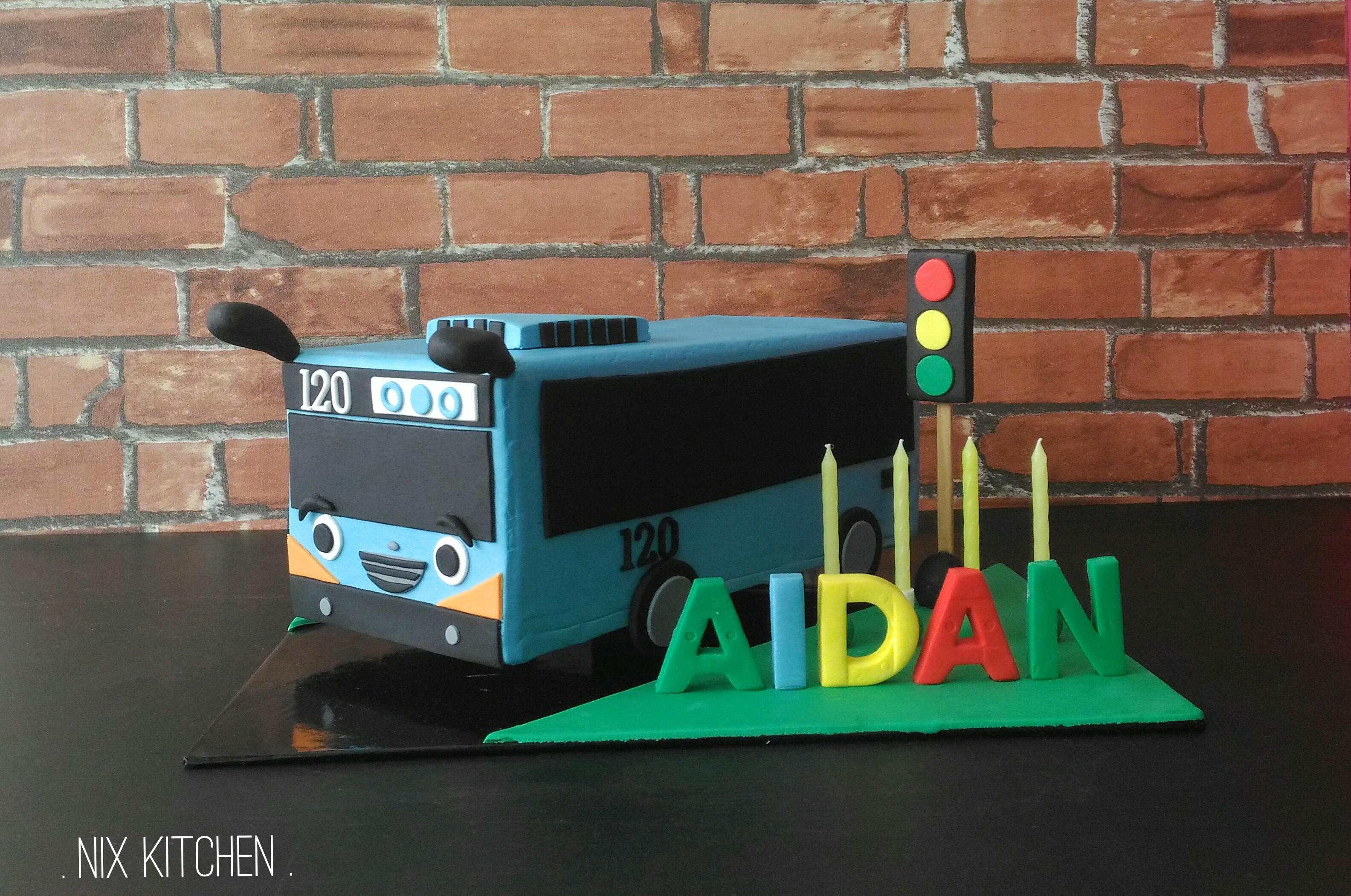 Blue bus shaped birthday cake