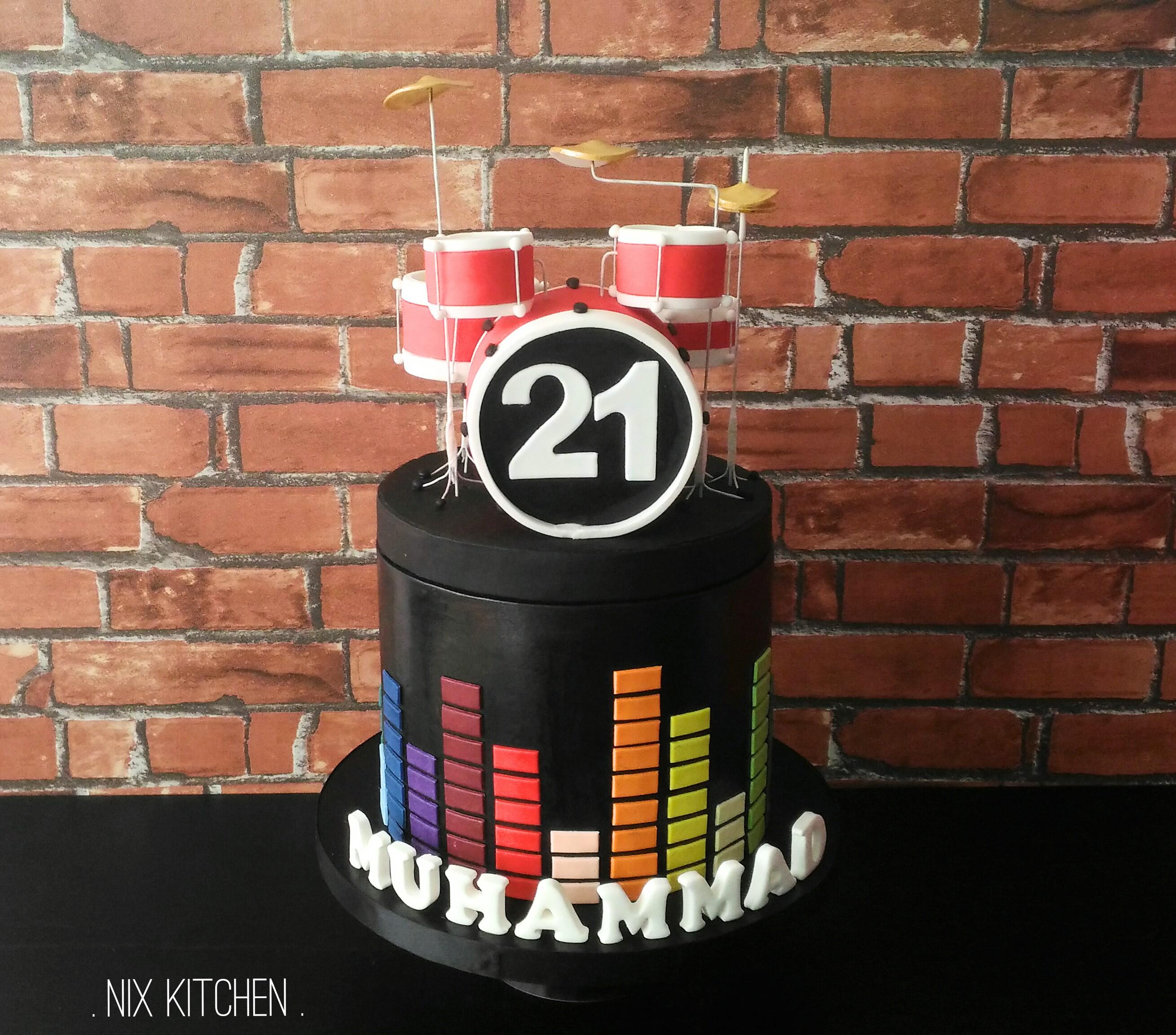Drum set musical birthday cake