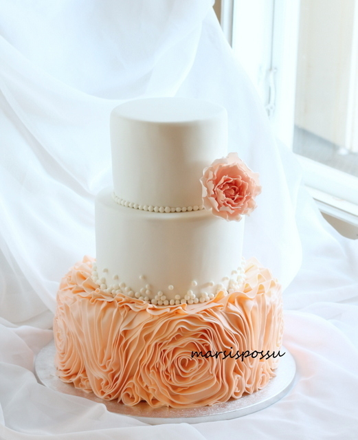 White with Peach Rosettes