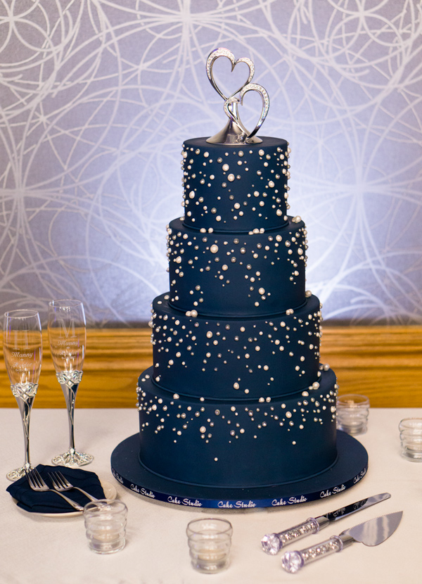 Midnight Navy fondant wedding cake with silver bling