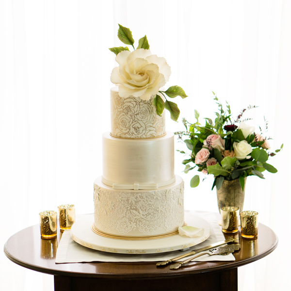 Ivory and lace wedding cake