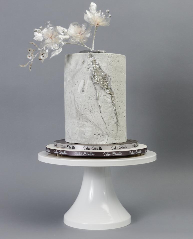 All gray fondant textured wedding cake