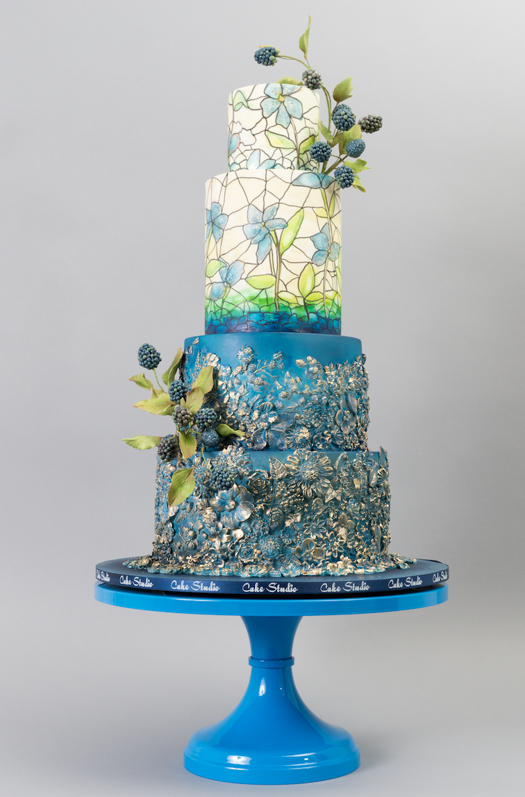 Blue and white stained glass wedding cake
