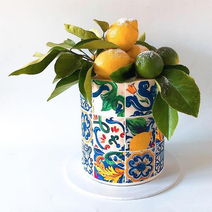Italian inspired mosaic tile fondant cake