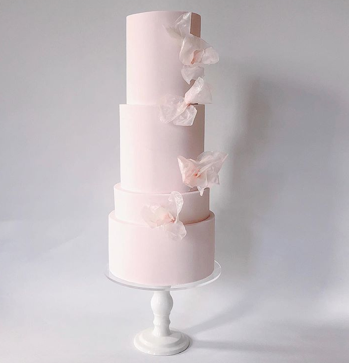 All baby pink fondant cake