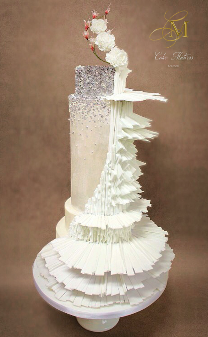 Couture Taupe and white fondant wedding cake