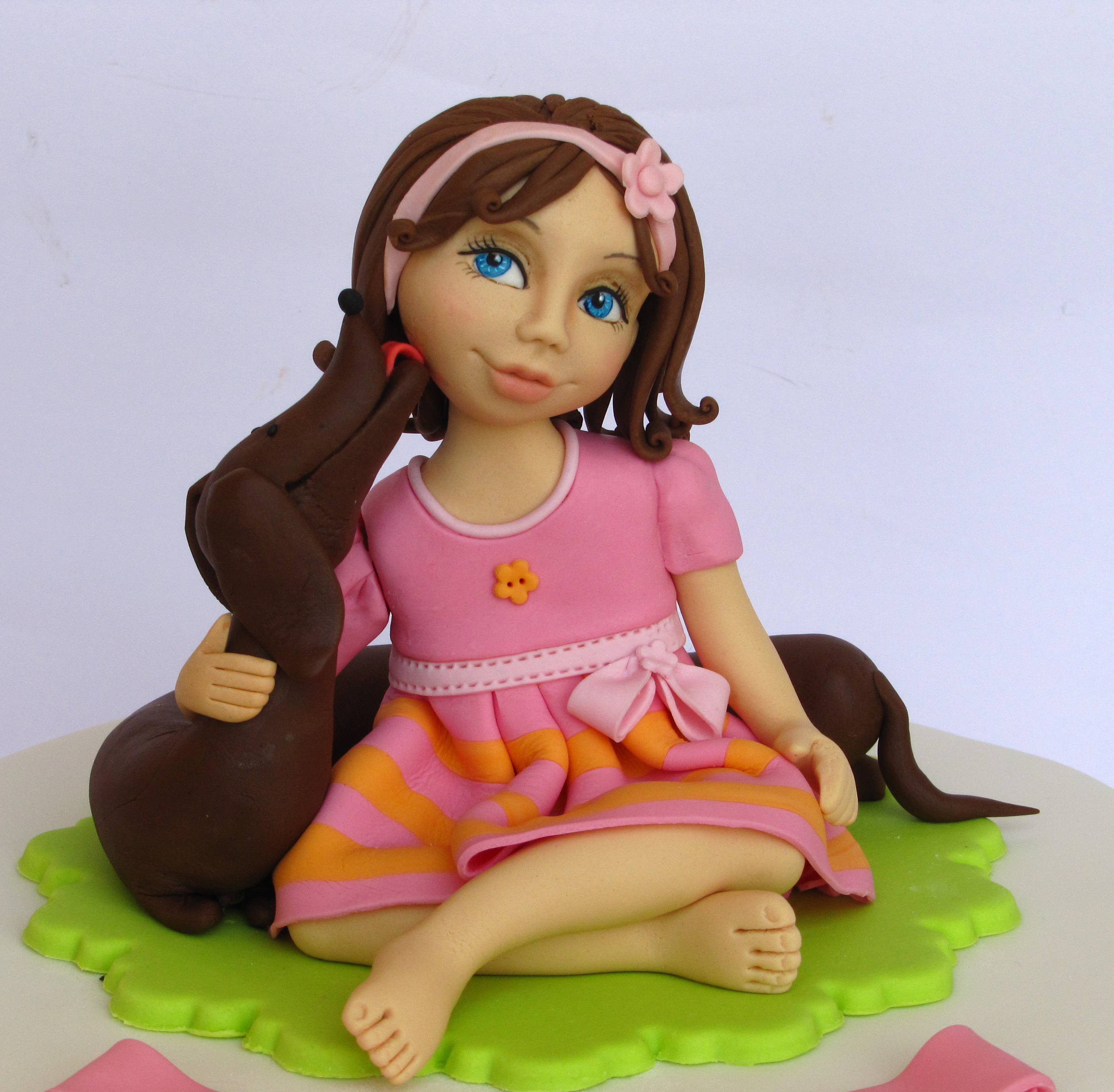 Girl with Puppy fondant figurine