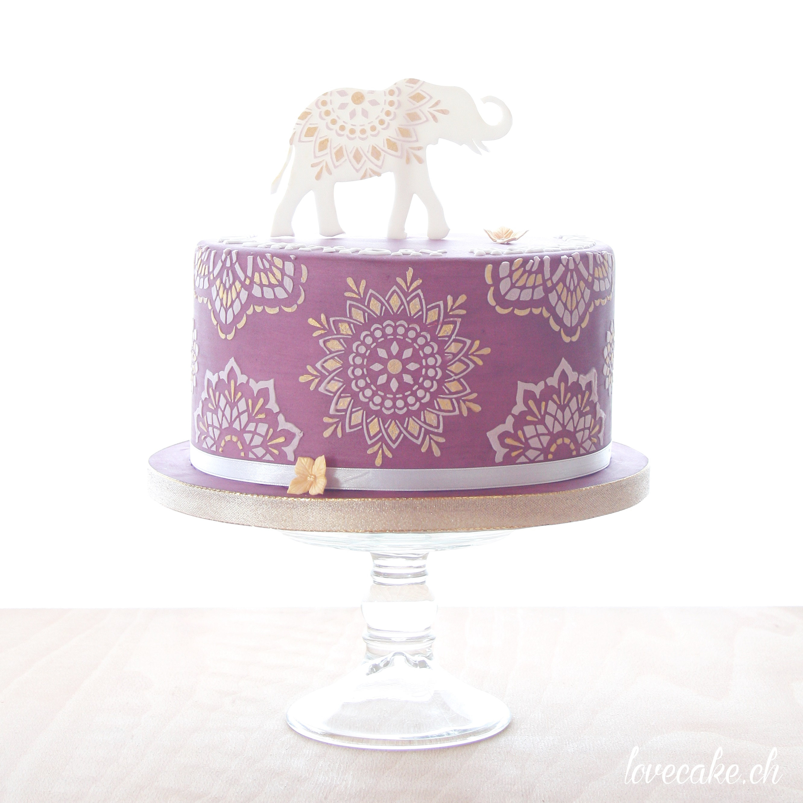 Purple and white boho elephant mini cake