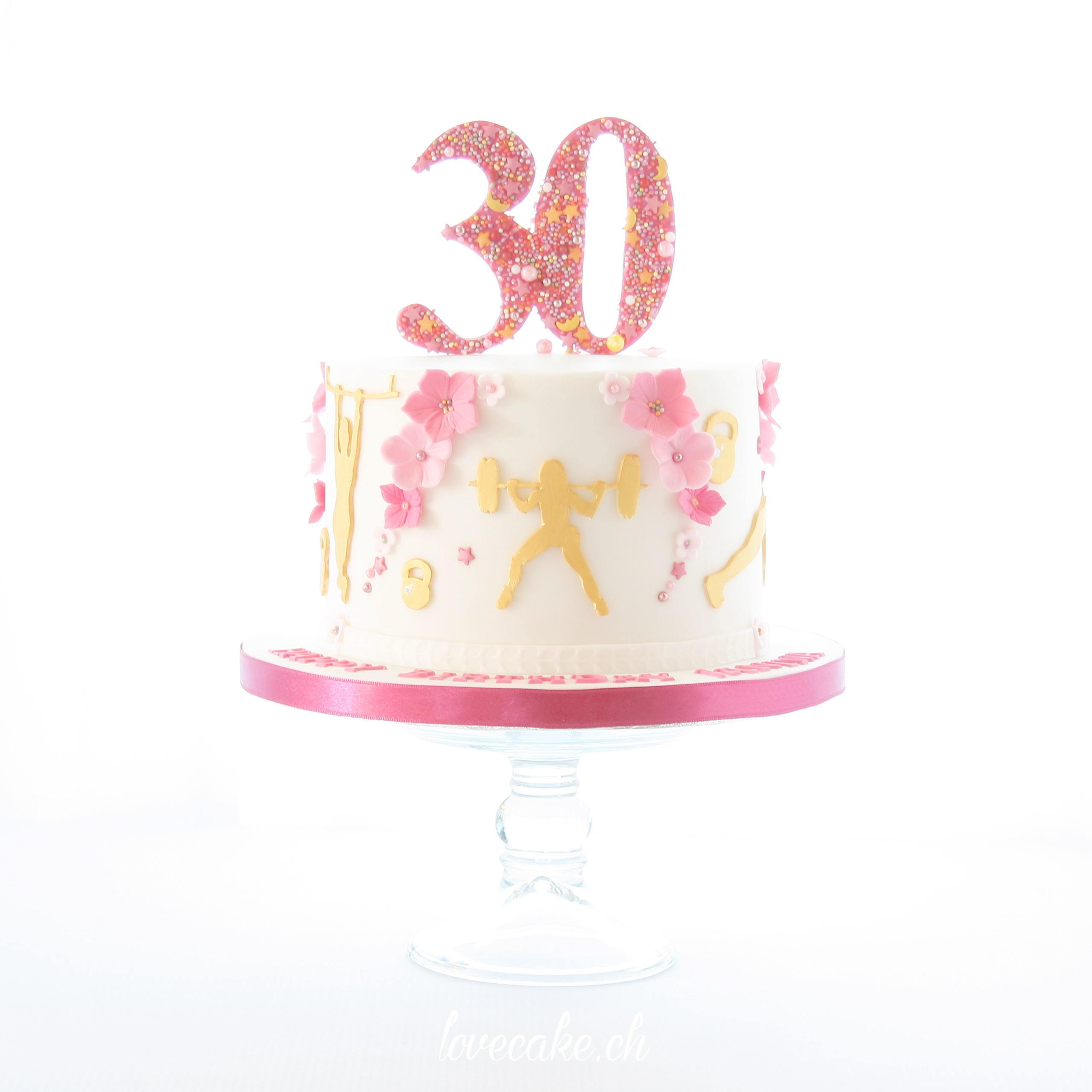 Mini white and pink birthday cake