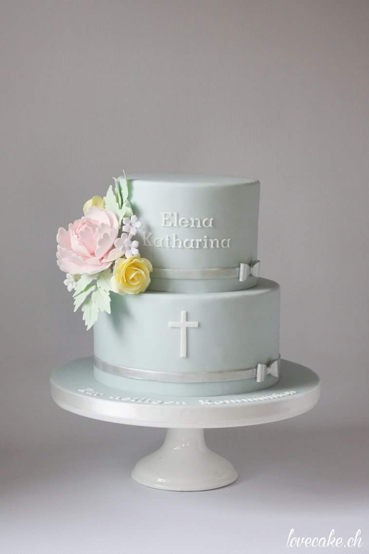 Baby blue fondant communion cake
