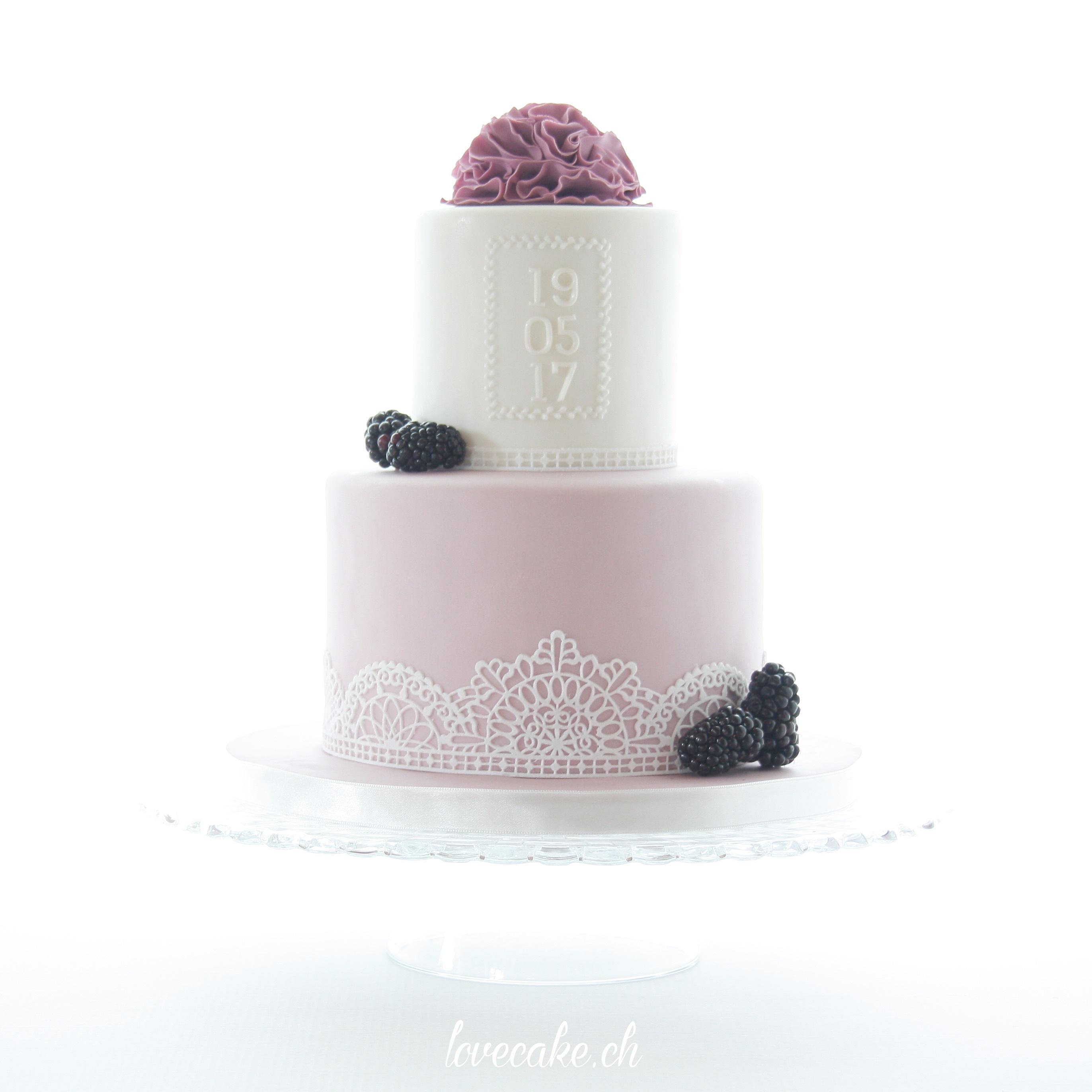 Lavender white fondant lace wedding cake with gum paste flowers