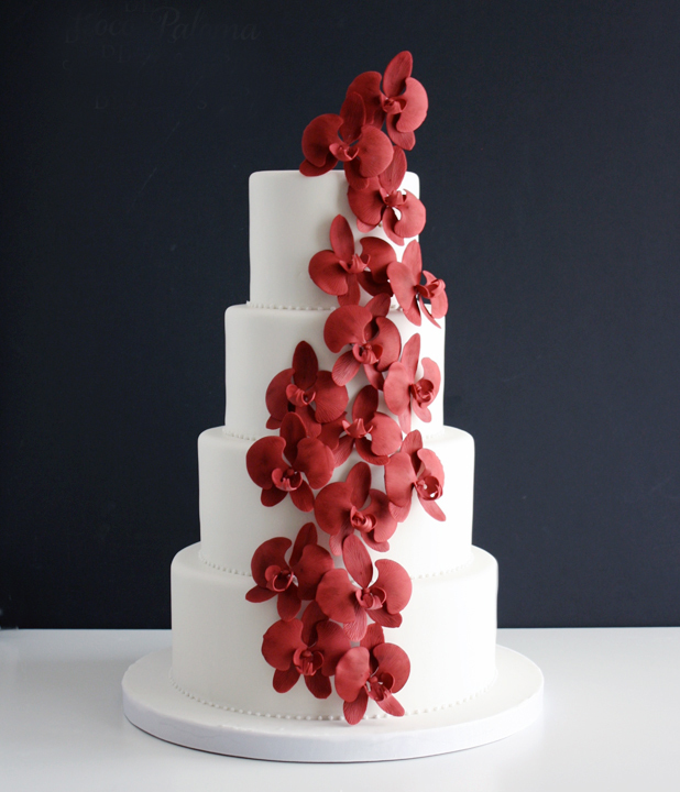 Cascading red Sugar Flowers