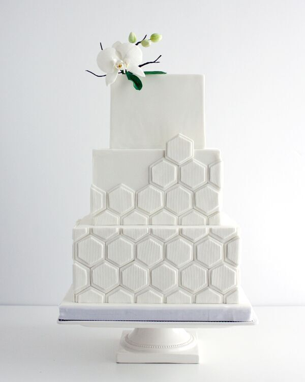 White Square geometric fondant Wedding cake